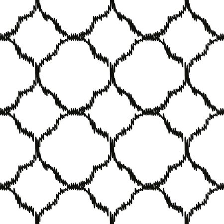 A seamless vector geometric ikat pattern with black quatrefoils on a white background. Unisex classic surface print design.