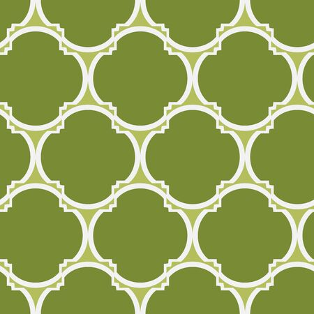 A seamless vector pattern with green geometric four leaves clover shapes. Surface print design.