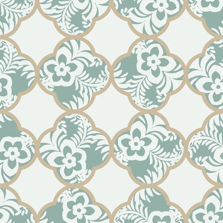 A seamless vector geometric quatrefoils pattern with botanical motifs in muted green. Classic surface print design. Great for wallpapers, backgrounds, textiles, cards and wrapping paper. Иллюстрация