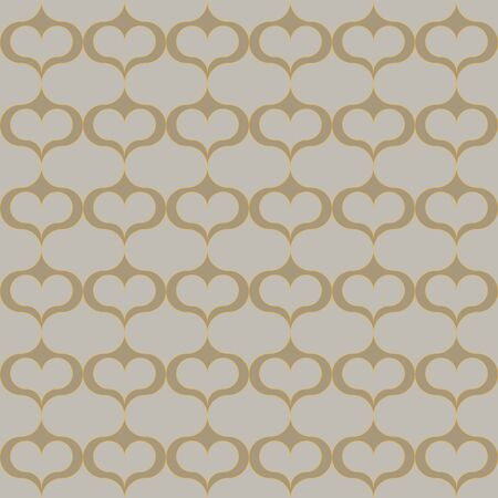 A seamless vector abstract trellis pattern with hearts in natural stone colors. Classic surface print design. Great or backgrounds and packaging. Иллюстрация