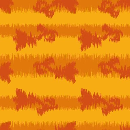 A seamless vector ikat pattern with orange stripes and flowers. Bright surface print design.