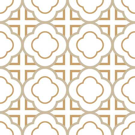 A seamless vector pattern with linear quatrefoils ornament in light colors. Surface print design.