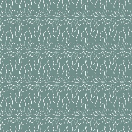A seamless vector pattern with organic white linear ornament on a teal background. Subtle decorative surface print design. Иллюстрация