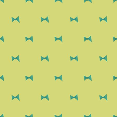 A seamless vector pattern with teal bow ties on a pastel yellow background. Surface print design. Great for wrappping paper, stationery, and textiels.