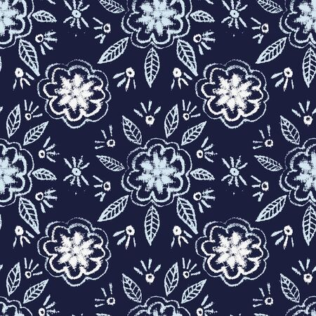 A seamless vector pattern with simple folk floral ornament on a dark indigo blue background. Decorative surface print design with hand drawn feel. Great for cards, fabrics and packaging.