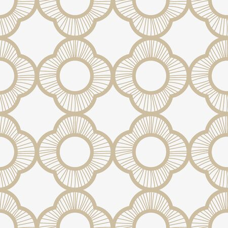 A seamless vector pattern with subtle linear quatrefoils ornament in light colors. Elegant surface print design. Great for backgrounds, wedding cards, invitations, and wrapping paper.
