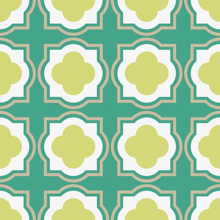 A seamless vector geometric abstract pattern with sqare quatrefoils in mint and lime green. Classic surface print design.