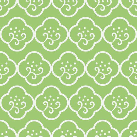 A seamless vector pattern with simple minimal floral quatrefoils ornament in fresh green color. Decorative surace print design. Great or backgrounds, fabric and stationery. Иллюстрация