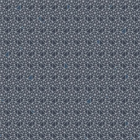 A seamless vector abstract netting texture with white linear triangles on navy blue background. Unise surface print design.