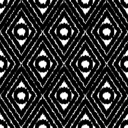 A seamless vector ikat pattern with abstract diamond and circles in black and white. Unisex bold surface print design. Great for fabrics, stationery, packaging and backgrounds.