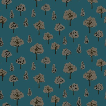 A seamless vector pattern with grey trees on a blue background. Nature themed surface print design. Иллюстрация