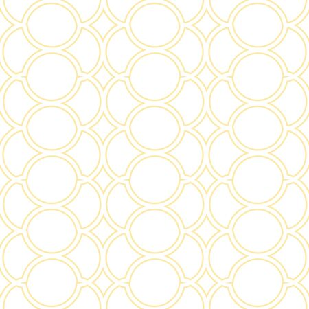 A seamless vector geoetric pattern with simple yellow linear ornament on a white background. Surface print design.