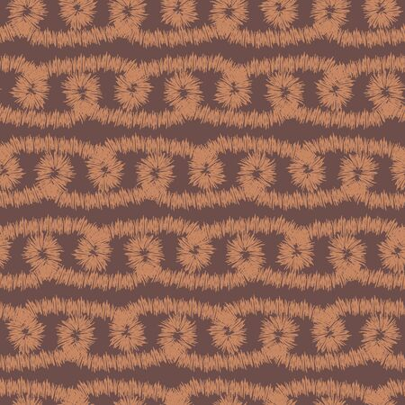 A seamless vector ikat pattern with brown stripes and loops. Unisex surface print design. Great for home decor, stationery and fabrics. Illusztráció