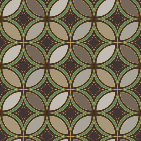 A seamless vector pattern with abstract geometric ornament in stone browns and greens with golden outlines. Unisex surface print design. Great for fabrics, stationery and backgrounds. Иллюстрация