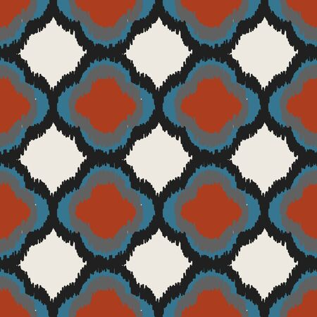 A seamless vector abstract vector pattern with quatrefoils in contasting bold colors. Decorative surface print design. great for textile, stationery and backgrounds.