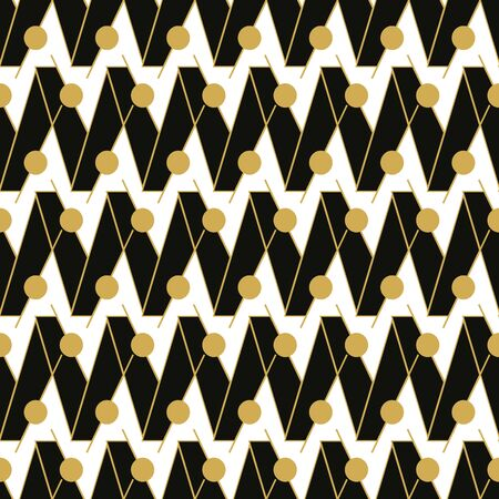A seamless vector pattern with black zig zag and golden lines and circles. Graphic surface print design.