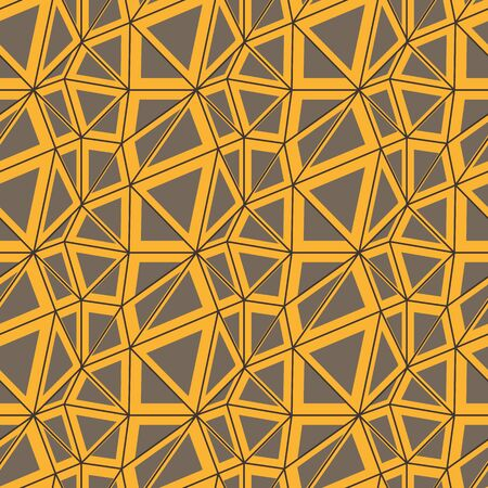 A seamless vector pattern with lines and triangles in yellow and grey. Abstract unisex surface print design.