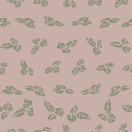 A seamless vector pattern with leaves in muted colors. Botanical surface print design.