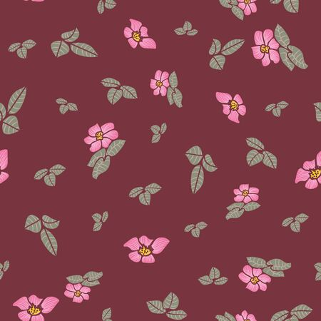 A seamless vector pattern with pink dog roses and green leaves scattered on a burgundy background. Decorative feminine surface print design. Great for fabric, wrapping paper