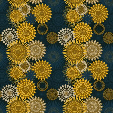 A seamless vector pattern with yellow and blue mandala shapes. Decorative surface print design.