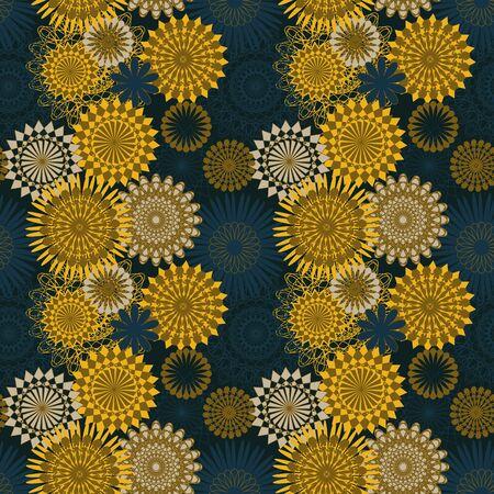 Bezszwowy wzór wektorowy z żółtymi i niebieskimi kształtami mandali. Dekoracyjny wzór nadruku powierzchni.