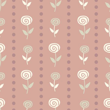 A vintage striped floral seamless vector pattern with roses. Feminine surface print design. Great for backgrounds, stationery and home decor.