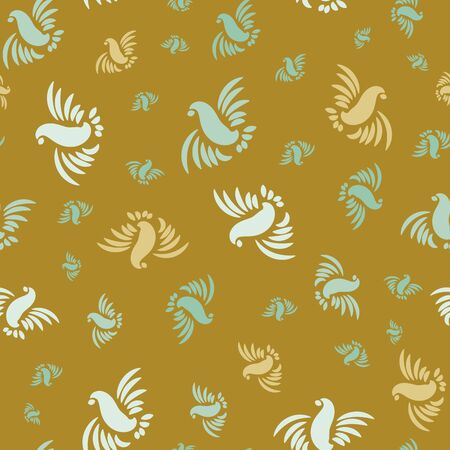 A seamless vector pattern with silhouettes of flying birds on a mustartd yellow background. Surfae print design. Great for fabrics and stationery.