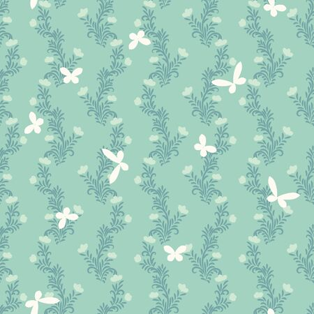 A seamless vector pattern with btterflies and floral ornament in palemint green colors. Deorative surfae print design. Great for stationery, fabrics, and packaging.