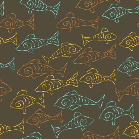 A seamless vector pattern with dotted fish on a dark brown background. Surface print design. Stock Illustratie