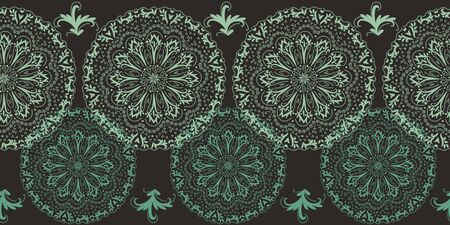 A seamless vector border print with mandalas ornament on a dark background. Great for fabrics and stationery.