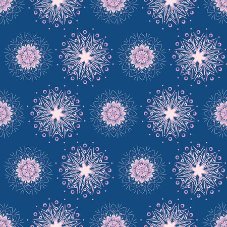 A pink snowflake mandalas seamless vector pattern on blue background. Boho christmas surface print design. Great for stationery, fabrics and packaging.