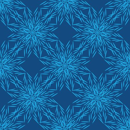 A seamless vector ornamental pattern with blue snowflake stars. Decorative winter themed surface print design. Great for fabrics, cards, backgrounds, and wrapping paper.