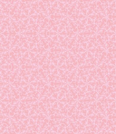 A seamless vector pattern with botanical damask ornament in pale pink colors. Romantic girly surface print design. Stock Illustratie