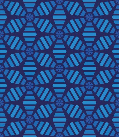 An abstract tessellation pattern with simple shapes in blue colors. Decorative surface print design. Great for backgrounds, packaging and unise wrapping paper Stock Illustratie