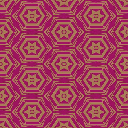 A seamless vector pattern with stars and hexagons on a pink background. Surface print design.