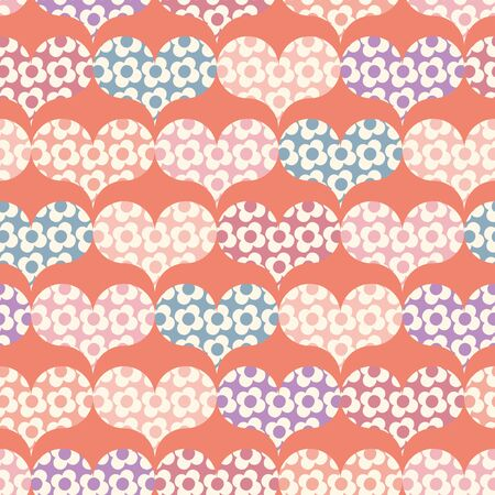 A seamless vector pattern with floral patterned hearts shapes. Valentines surface print design. Great for cards, gift wrap and packaging. Stock Illustratie