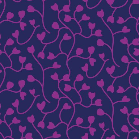 An organic botanical seamless vector pattern with heart shaped leaves. Valentines day surface print design. Great for love cards, wrapping paper and packaging.