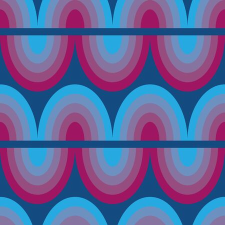 A seamless abstract vector pattern with horizonatal wavy lines. Striped surface print design in pink and blue. Stock Illustratie