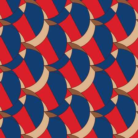 A seamless vector pattern with colurful fishscale shapes mosaic in red and classic blue. Bright surface print design. Stock Illustratie