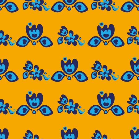 A seamless vector pattern with blue folk tulips on a bright yellow background. Decorative girly surface print design. Stock Illustratie