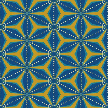 A seamless vector geometric astract pattern with blue an orange mosaic stars. Decrative surface print design.
