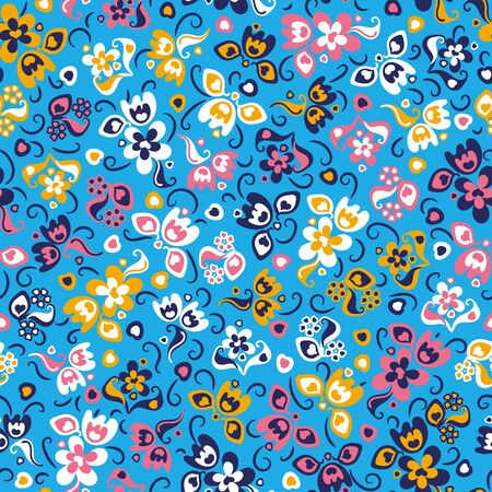 A seamless vector pattern with colorful folk flowers meadow on a bright blue background. Feminine surface print design. Great for cards, wrapping paper, scrapbooking, packaging, and fabrics.