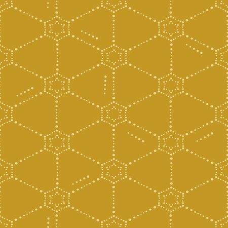 A seamless vector pattern with dotted netting ornaent on a mustard yellow background. Simple surface print design.