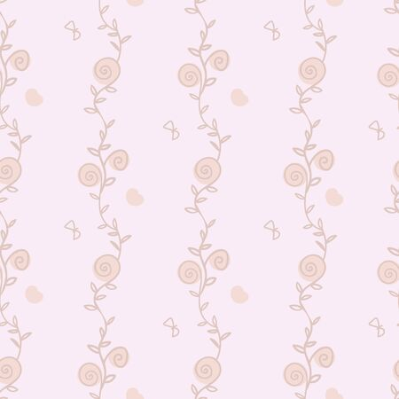A seamless vector pattern with doodle floral stripes, butterflies and hearts. Simple pastel surface print design. Great for wedding stationery, packaging and backgrounds.