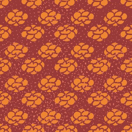 An orange floral seamless vector pattern on a textured background. Surface print design.