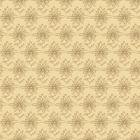 A seamless vector pattern with stylized floral ornament in two yellow colors. Decorative surface print design.