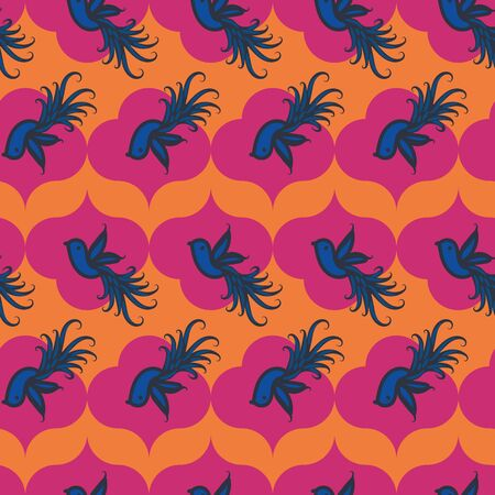 A colorful seamless vector pattern with blue birds on vibrant orange and pink. Bright surface print design.