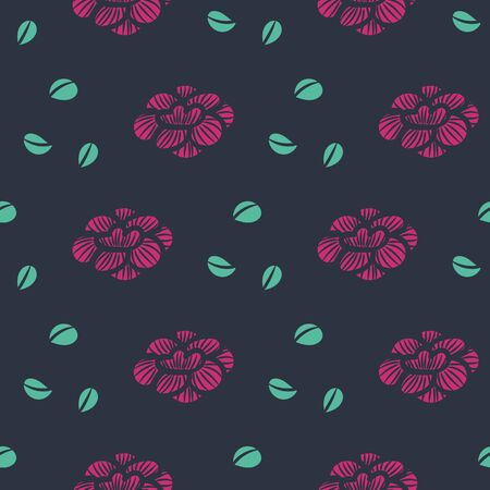 A seamless vector pattern with pink flower heads and green leaves on a dark background. Feminine surface print design.