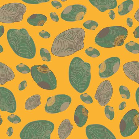 A seamless vector pattern with green clam shells on a yellow sand. Beach themed surface print design.