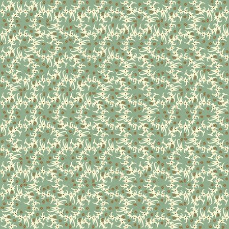 A seamless vector pattern with long branch with leaves and flowers in muted green. Surface print design. Stock Illustratie